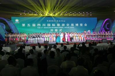 La quinta Sichuan International Travel Expo apre a Leshan, in Cina